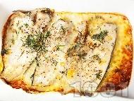 Печено филе от пъстърва със сметана, копър и розмарин в тава на фурна
